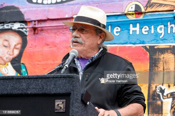 """Edward James Olmos speaks during State Senator Susan Rubio's Senate Bill 805 """"Save The Performing Arts Act Of 2021"""" Press Conference at Casa 0101 on..."""