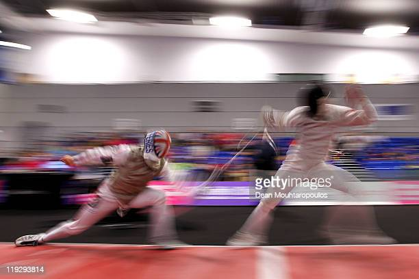 Edward Jeffries of Great Britain in action against Philippe Jorgensen of Denmark during the Mens Foil Team event during Day Four of the 2011 European...