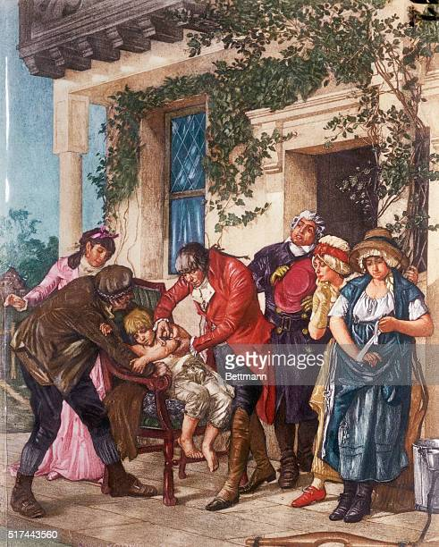 Edward Jenner vaccinating James Phipps a boy of eight May 14 1796 Pus from the hand of Sarah Nelmes a dairy maid was used Artist unknown Undated...