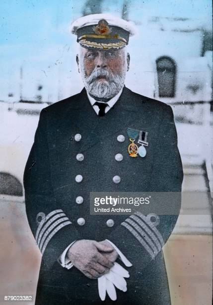 Edward John Smith the captain of the RMS Titanic in uniform on his ship He was previously captain of the RMS Olympic