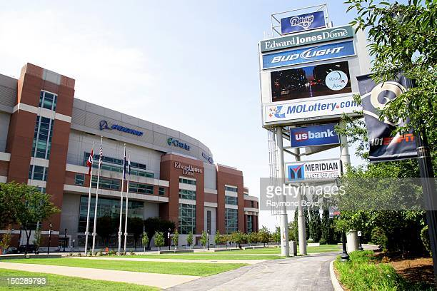 Edward Jones Dome and sign tower home of the St Louis Rams in St Louis Missouri on AUGUST 04 2012
