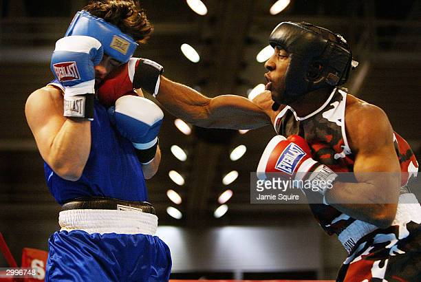 Edward Joseph lands a punch in his bout against Rudy Cisneros in the United States Olympic Team Boxing Trials at Battle Arena on February 19 2004 in...