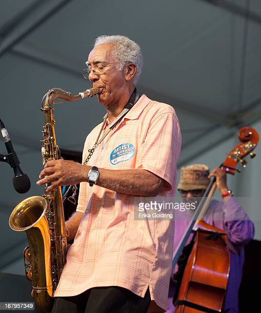 """Edward """"Kidd"""" Jordan and William Parker perform during the 2013 New Orleans Jazz & Heritage Music Festival at Fair Grounds Race Course on May 2, 2013..."""