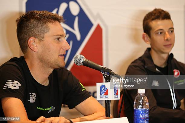 Edward King of United States riding for Cannondale-Garmin speaks during the press conference for the 2015 USA Pro Challenge at the Steamboat Grand...