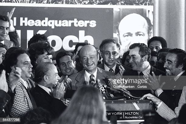Edward Koch Celebrating Victory on Podium After Being Elected Mayor of New York City