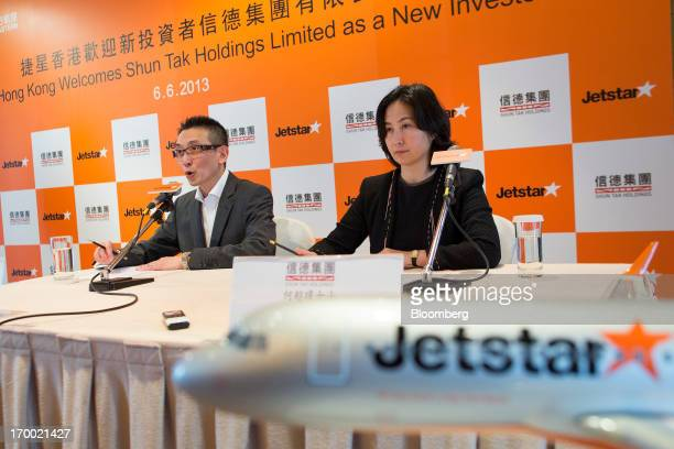 Edward Lau chief executive officer of Jetstar Hong Kong left and Pansy Ho managing director of Shun Tak Holdings Ltd attend a news conference in Hong...