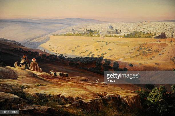 Edward Lear . British painter. Jerusalem from the Mount of Olives, 1858-59. Oil on paper on canvas. Israel Museum, Jerusalem.