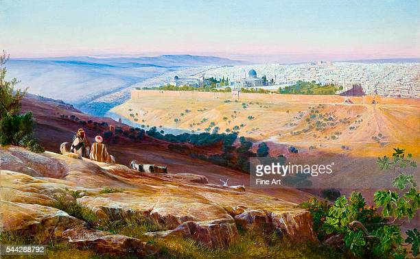 Edward Lear , Jerusalem from the Mount of Olives, 1858-59, oil on paper mounted on canvas, 45.5 × 74.5 cm , with the city walls and the Dome of the...