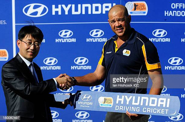 Edward Lee the CEO of the Hyundai Motor Company Australia Andrew Symonds ICC Under 19 Ambassador pose during the ICC U19 Cricket World Cup 2012...