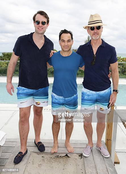 Edward LloydDavis Tevfik Akdag and Adam Brown are seen at the KITH Orlebar Brown Exclusive Collaboration Celebration on December 3 2016 in Miami...