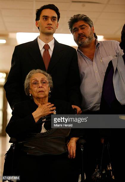 Edward Locascio's son Edward Locascio jr and Maggie Locascio's mother Nina Lopez leave the courtroom after a verdict of life in prison was handed...