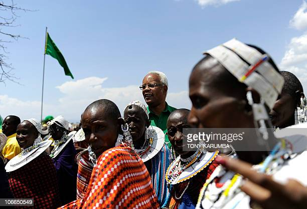 AUSSEILL Edward Lowassa incumbent Member of Parliament for Monduli attends at Oltukai 100 km west of Arusha during a political rally organised by...