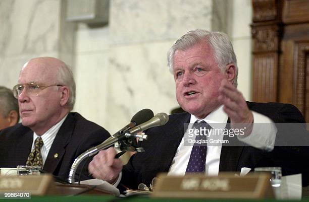 Edward M Kennedy DMass makes a point during John Ashcroft's conformation hearing for attorney general before the Senate Judiciary Committee