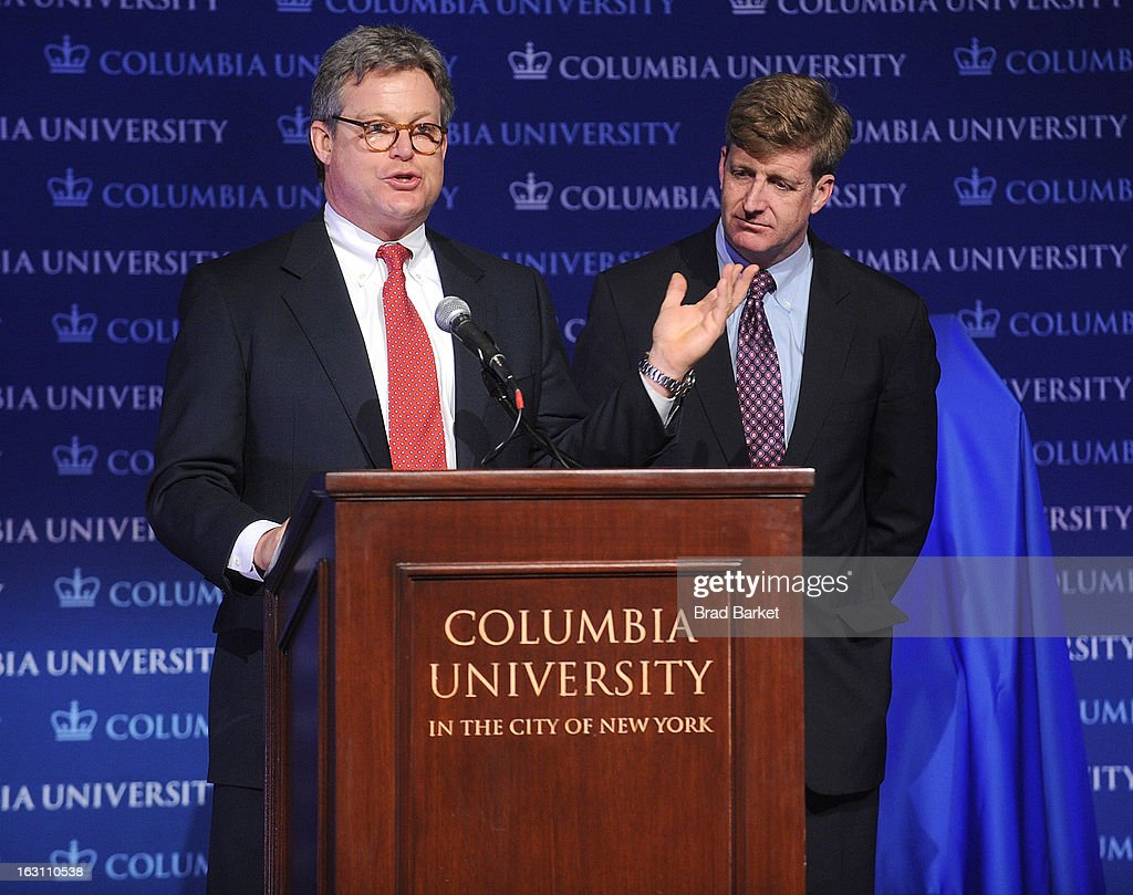 Edward M. Kennedy Jr. and Patrick Kennedy attend the 2013 Edward M. Kennedy Prize For Drama Award Reception at Columbia University on March 4, 2013 in New York City.
