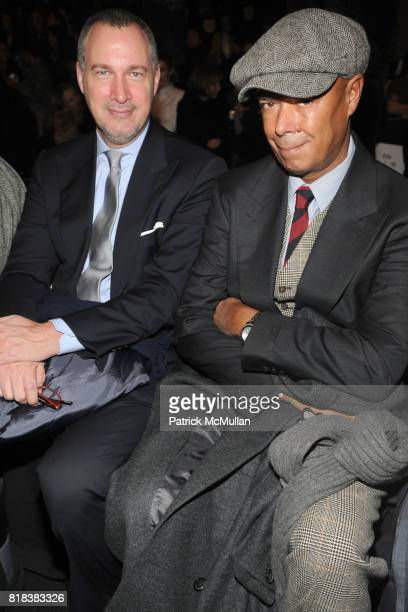 Edward Menicheschi and Michael Roberts attend BCBG MAX AZRIA Fall 2010 Collection at Bryant Park Tents on February 11 2010 in New York City