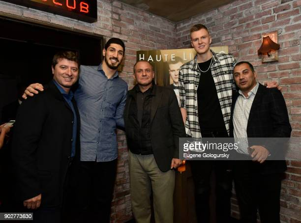 Edward Mermelstein Enes Kanter Ronn Torossian Kristaps Porzingis and Mazen Dayem attend the Haute Living Honoring of Kristaps Porzingis With Jaquet...