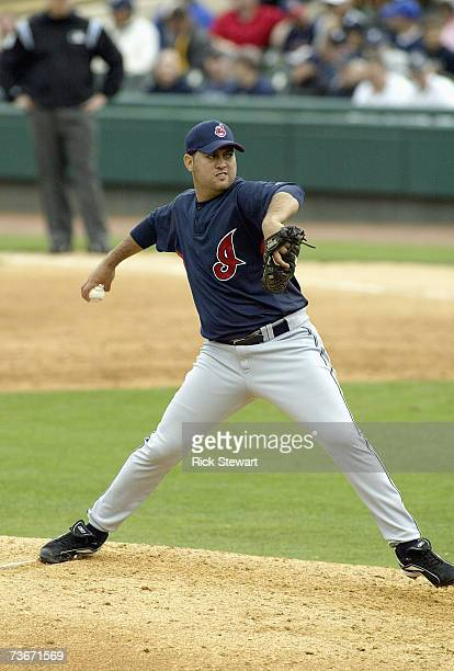 Edward Mujica of the Cleveland Indians delivers the pitch against the Detroit Tigers during a Spring Training game on March 32007 at Joker Marchant...