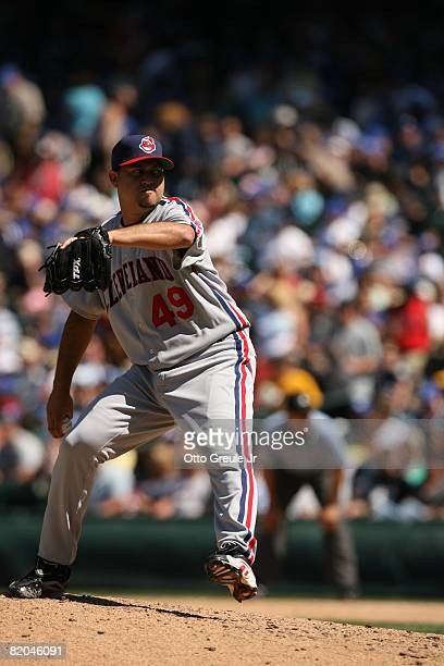 Edward Mujica of the Cleveland Indians pitches against the Seattle Mariners on July 19, 2008 at Safeco Field in Seattle, Washington.
