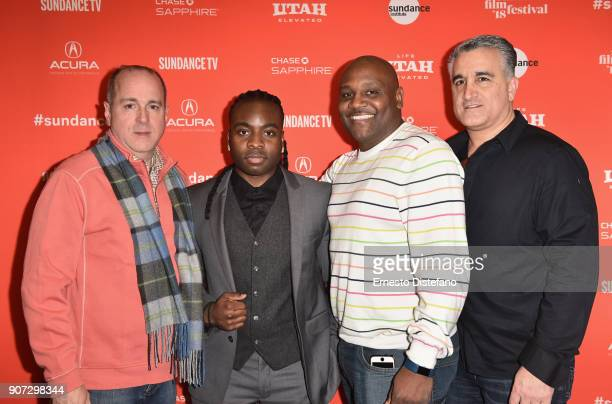 Edward Mullins Edwin Raymond Edmund Small and Vincent Vallelong attend the 'Crime And Punishment' Premiere during the 2018 Sundance Film Festival at...