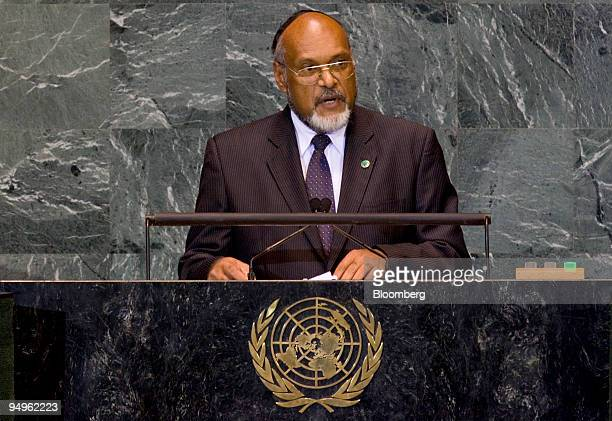 Edward Nipake Natapei prime minister of Vanuatu speaks at the 64th annual United Nations General Assembly in New York US on Friday Sept 25 2009 The...