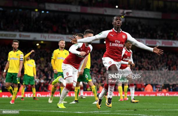 Edward Nketiah celebrates scoring the first Arsenal goal during the Carabao Cup Fourth Round match between Arsenal and Norwich City at Emirates...