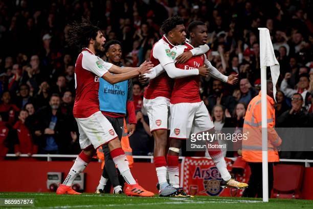Edward Nketiah celebrates scoring the first Arsenal goal with team mates during the Carabao Cup Fourth Round match between Arsenal and Norwich City...