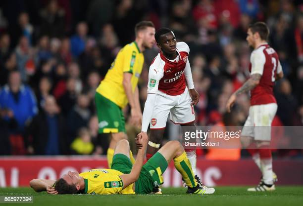 Edward Nketiah goes to pick up Timm Klose of Norwich City after the Carabao Cup Fourth Round match between Arsenal and Norwich City at Emirates...
