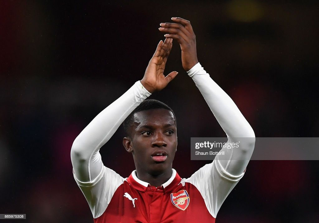Edward Nketiah of Arsenal celebrates after Arsenal won the Carabao Cup Fourth Round match between Arsenal and Norwich City at Emirates Stadium on October 24, 2017 in London, England.