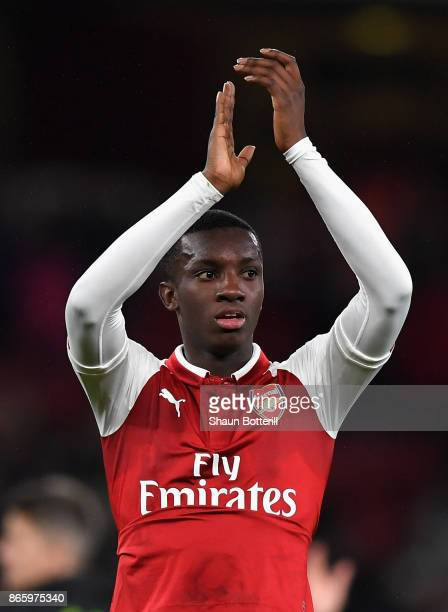 Edward Nketiah of Arsenal celebrates after Arsenal won the Carabao Cup Fourth Round match between Arsenal and Norwich City at Emirates Stadium on...