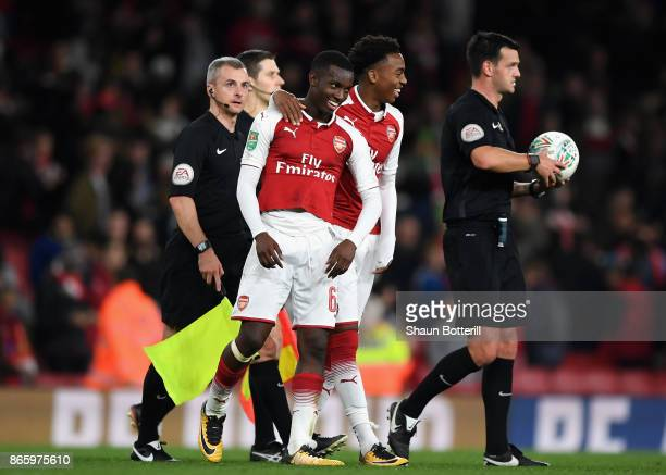 Edward Nketiah of Arsenal celebrates after with Jordi OseiTutu after Arsenal won the Carabao Cup Fourth Round match between Arsenal and Norwich City...