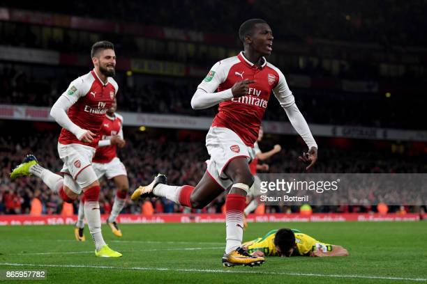 Edward Nketiah of Arsenal celebrates scoring the first Arsenal goal during the Carabao Cup Fourth Round match between Arsenal and Norwich City at...