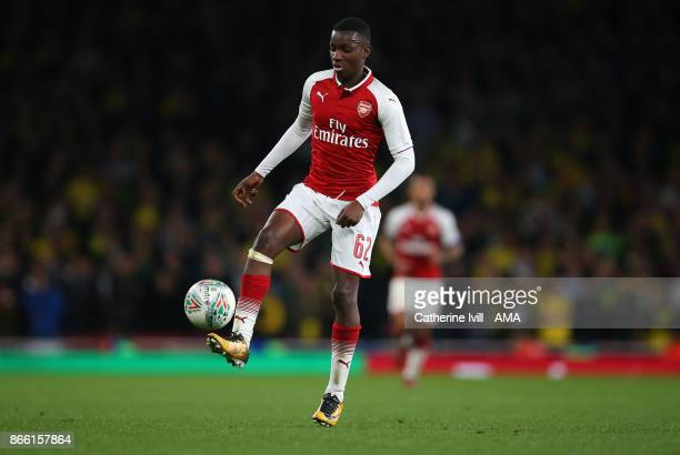 Edward Nketiah of Arsenal during the Carabao Cup Fourth Round match between Arsenal and Norwich City at Emirates Stadium on October 24 2017 in London...