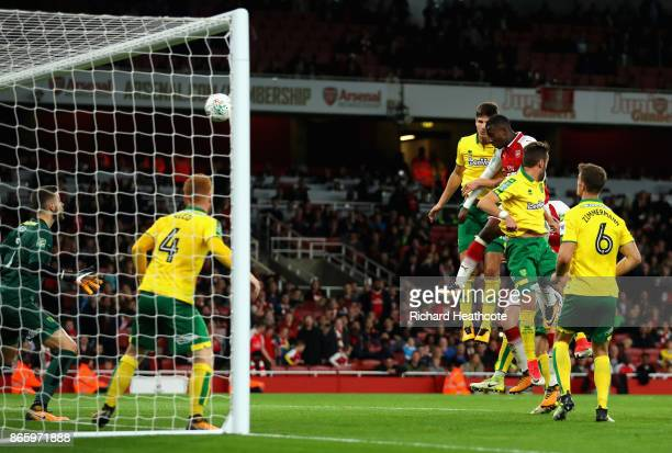 Edward Nketiah of Arsenal scores the second Arsenal goal during the Carabao Cup Fourth Round match between Arsenal and Norwich City at Emirates...