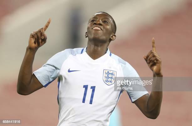 Edward Nketiah of England celebrates scoring a goal against Qatar during the U18 International friendly match between Qatar and England at the Grand...