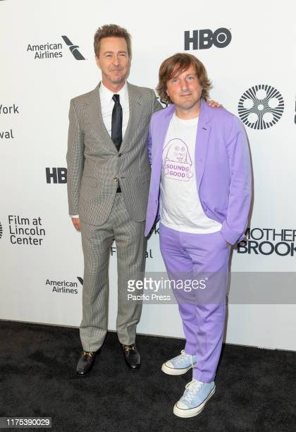 Edward Norton and Daniel Pemberton attend Motherless Brooklyn premiere during 57th New York Film Festival at Alice Tully Hall