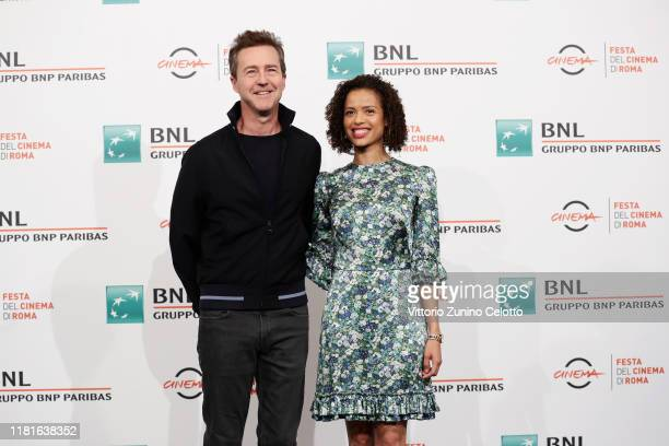 Edward Norton and Gugu MbathaRaw attend the photocall of the movie Motherless Brooklyn during the 14th Rome Film Festival on October 17 2019 in Rome...