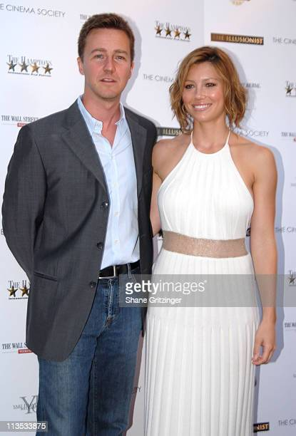 """Edward Norton and Jessica Biel during The Cinema Society and The Wall Street Journal host """"The Illusionist"""" - Arrivals at Southampton UA Cinema in..."""