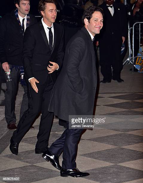 Edward Norton and Paul Rudd arrives to Saturday Night Live 40th Anniversary Celebration after party at The Plaza Hotel on February 15 2015 in New...