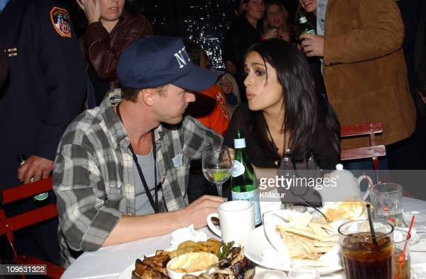 Edward Norton and Salma Hayek during The Concert for New York City After Party at Hudson Hotel in New York City New York United States