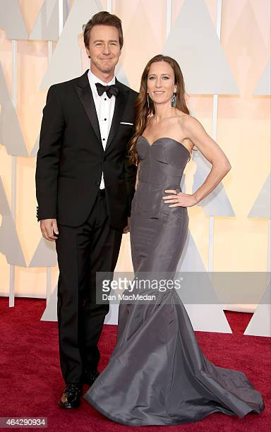 Edward Norton and Shauna Robertson arrive at the 87th Annual Academy Awards at Hollywood Highland Center on February 22 2015 in Los Angeles California
