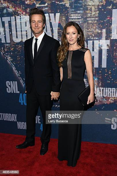 Edward Norton and Shauna Robertson attend SNL 40th Anniversary Celebration at Rockefeller Plaza on February 15 2015 in New York City