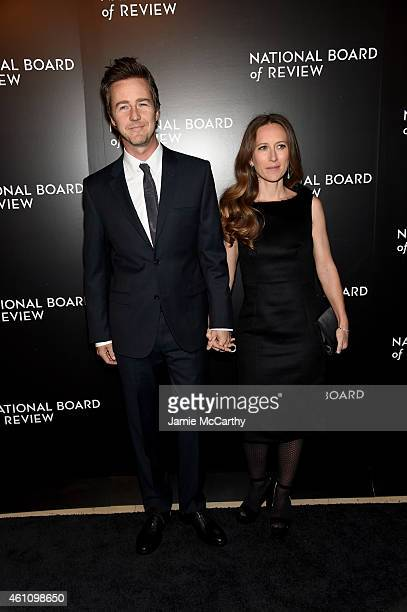 Edward Norton and Shauna Robertson attend the 2014 National Board of Review Gala at Cipriani 42nd Street on January 6 2015 in New York City