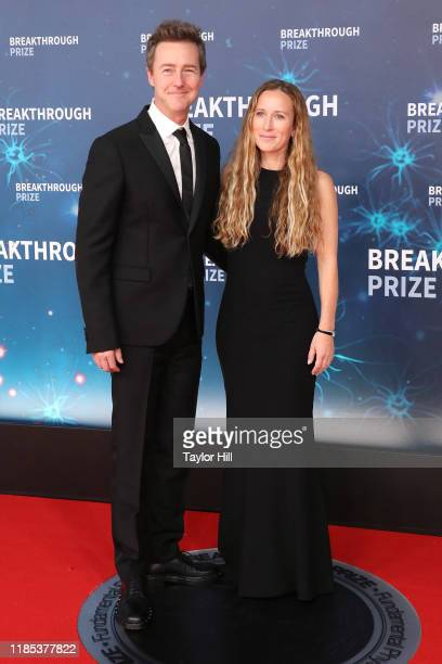 Edward Norton and Shauna Robertson attend the 2020 Breakthrough Prize Ceremony at NASA Ames Research Center on November 03 2019 in Mountain View...