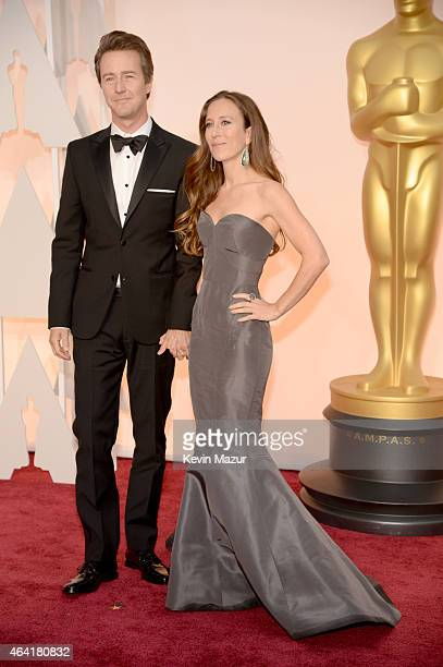 Edward Norton and Shauna Robertson attend the 87th Annual Academy Awards at Hollywood Highland Center on February 22 2015 in Hollywood California