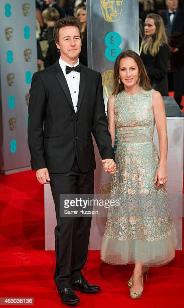 Edward Norton and Shauna Robertson attend the EE British Academy Film Awards at The Royal Opera House on February 8 2015 in London England