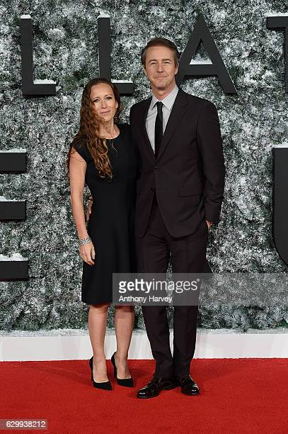 Edward Norton and Shauna Robertson attend the European Premiere of Collateral Beauty at Vue Leicester Square on December 15 2016 in London England