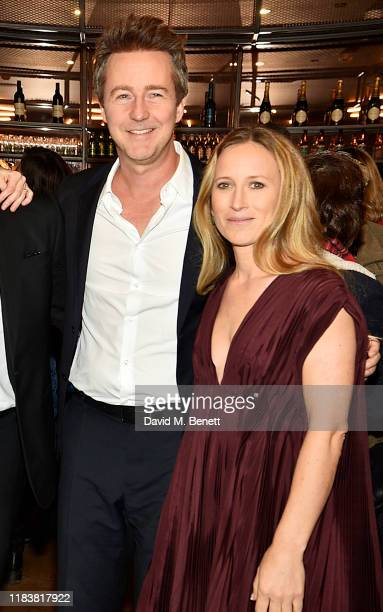 Edward Norton and Shauna Robertson attend the Motherless Brooklyn BAFTA screening reception at Vue Leicester Square on November 21 2019 in London...