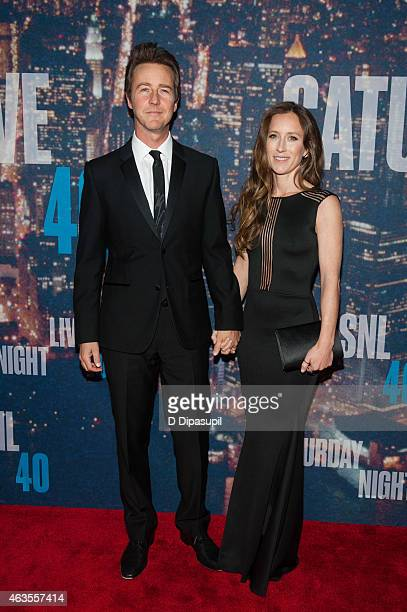 Edward Norton and Shauna Robertson attend the SNL 40th Anniversary Celebration at Rockefeller Plaza on February 15 2015 in New York City
