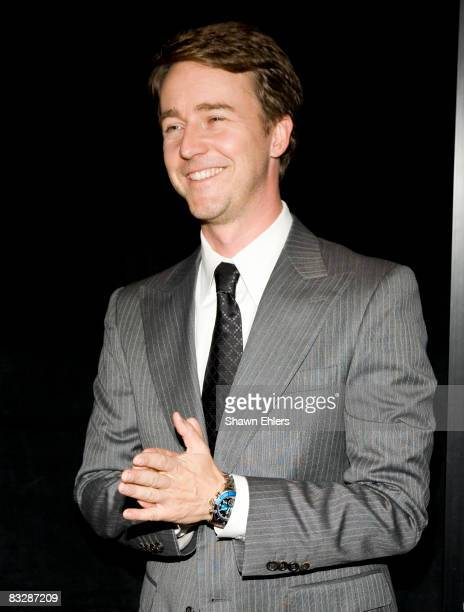 Edward Norton at the Pride and Glory NY Premiere Wearing a Breil Milano Watch of the MANTA Collection at AMC Loews Lincoln Square on October 15 2008...