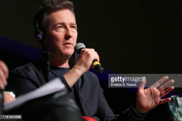 Edward Norton attends the press conference of the movie Motherless Brooklyn during the 14th Rome Film Festival on October 17 2019 in Rome Italy